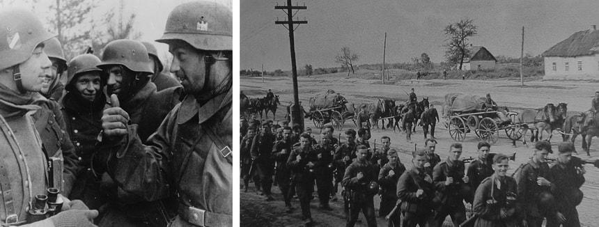 Немецкие военные маршируют на Востоке