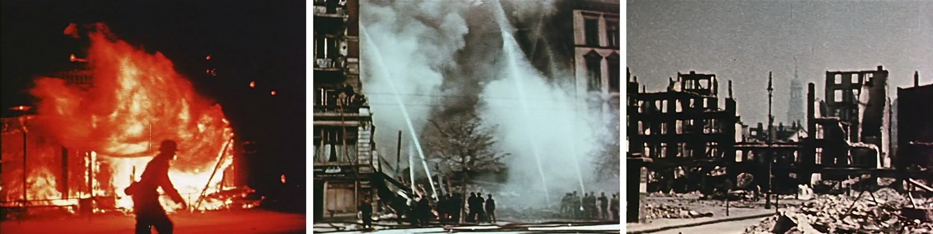 Бомбардировка Гамбурга август 1943 г. в цвете