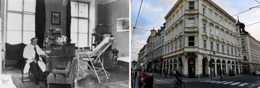 Doctor Bloch's office in Linz. Hitler and Eduard Bloch