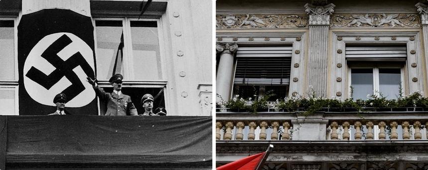 Гостиница Империал и Адольф Гитлер на балконе
