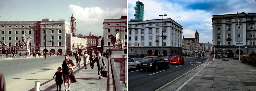 Nibelungbrucke bridge Linz then and now