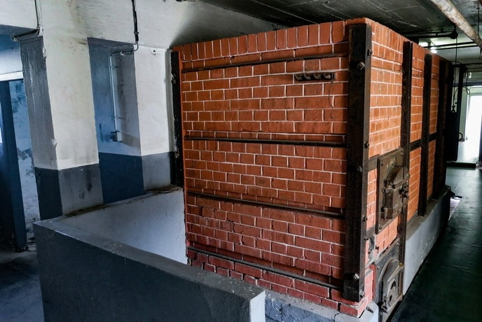 The backside of the furnace