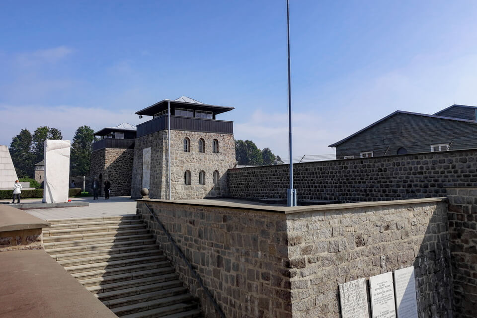 The main gate of the Mauthausen concentration camp near Linz