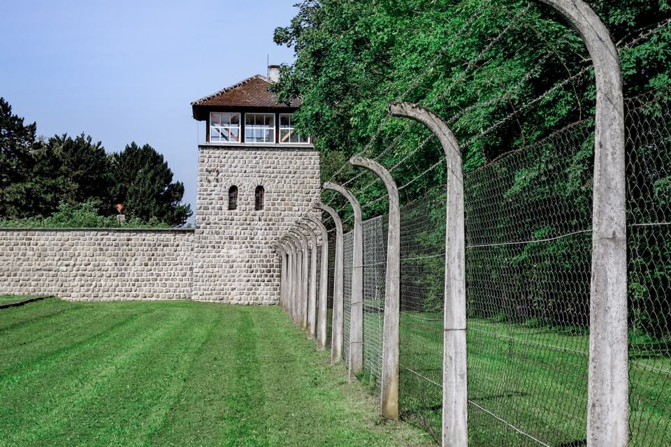 The barbed wire fence Mauthausen concentration camp