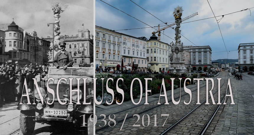 Anschluss of Austria. Then and now. Anschuss in Vienna
