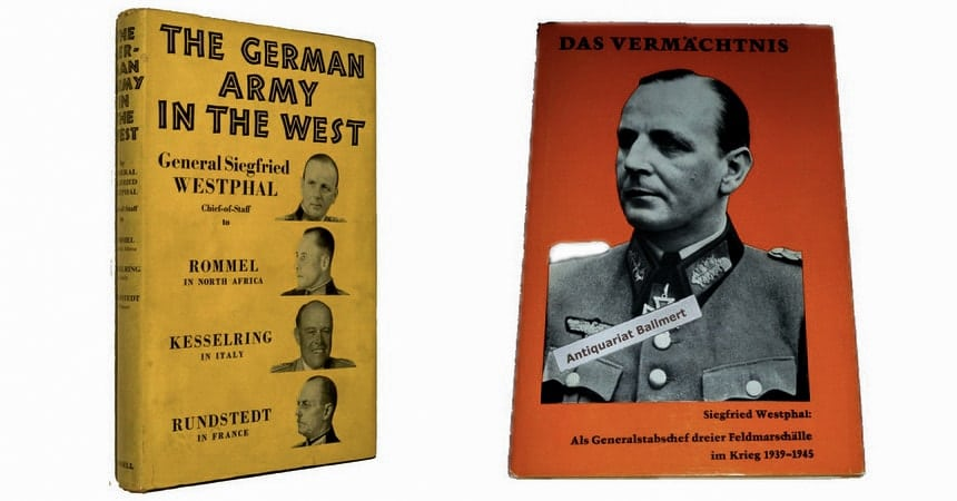 Роль Зигфрида Вестфаля в тексте книги German Army in the West