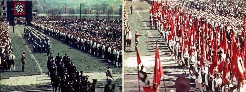 нацистский парад в городе юности Адольфа Гитлера Линце 1938
