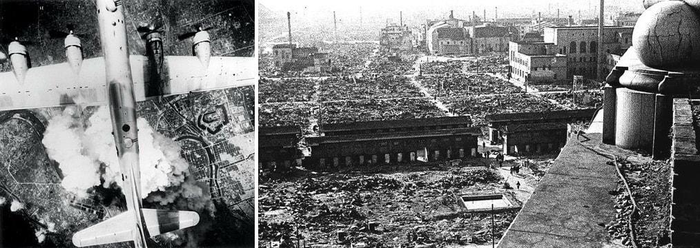 Опустошительные бомбардировки американцами городов и гражданского населения Японии