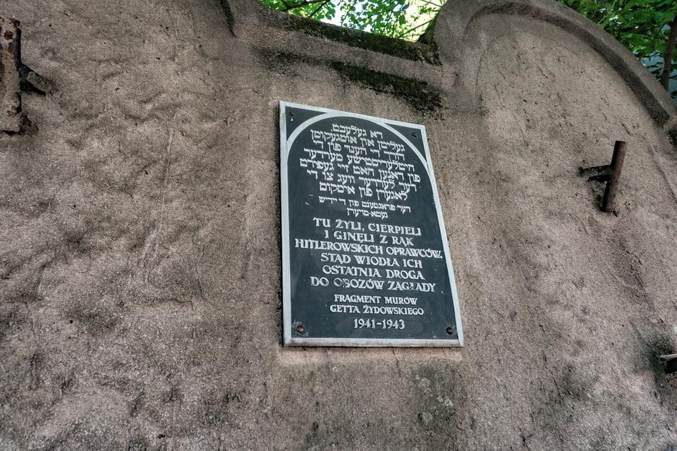 Memorial sign to a ghetto wall, Poland