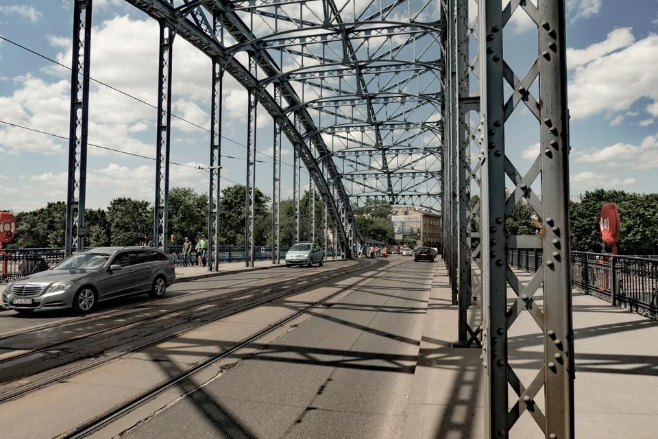 Jozef Pilsudski bridge, Krakow Poland