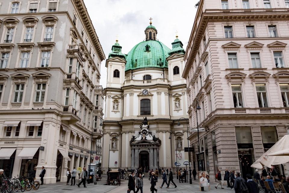 Petersplatz and the Peterskirche in VIenna