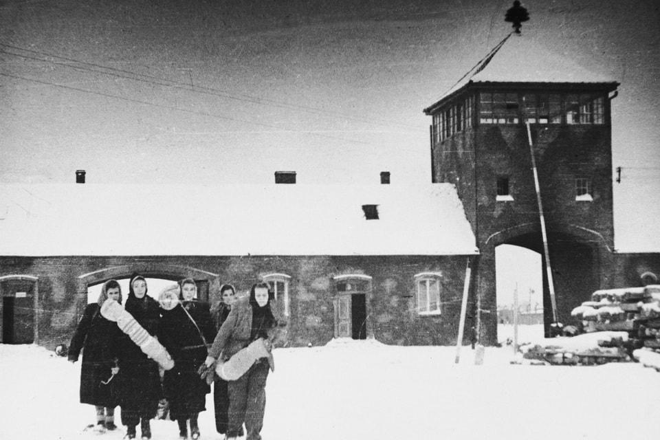 Main gate of the Auschwitz Birkenau after liberation
