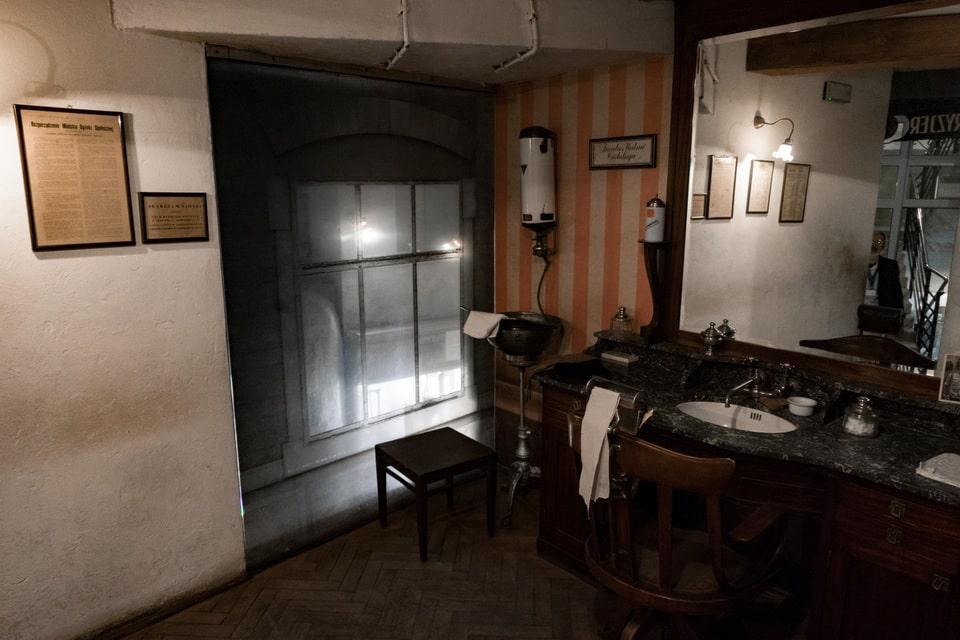 The replica of the Krakow barbershop