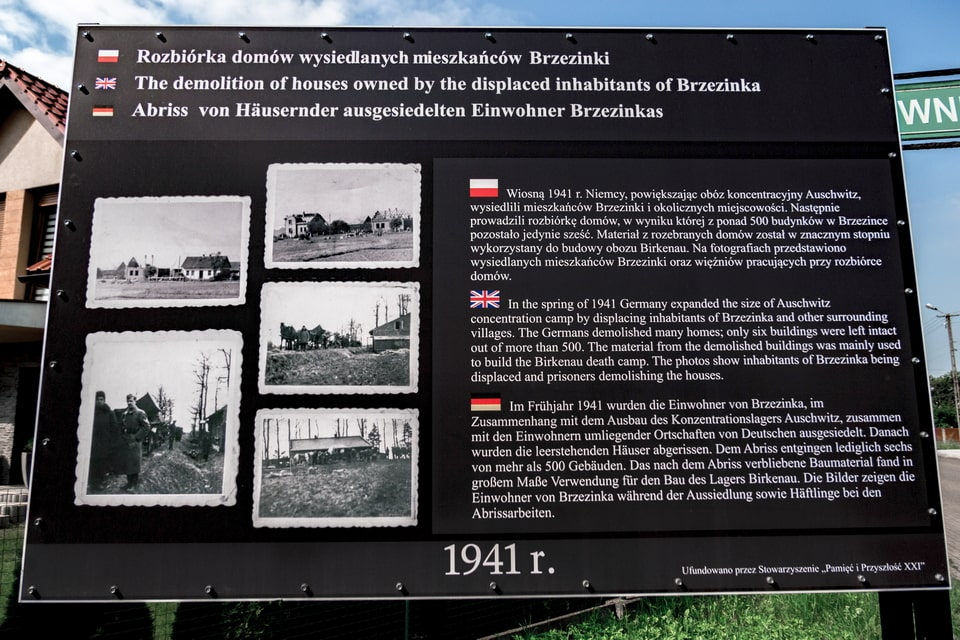 Brzezinka village plaque