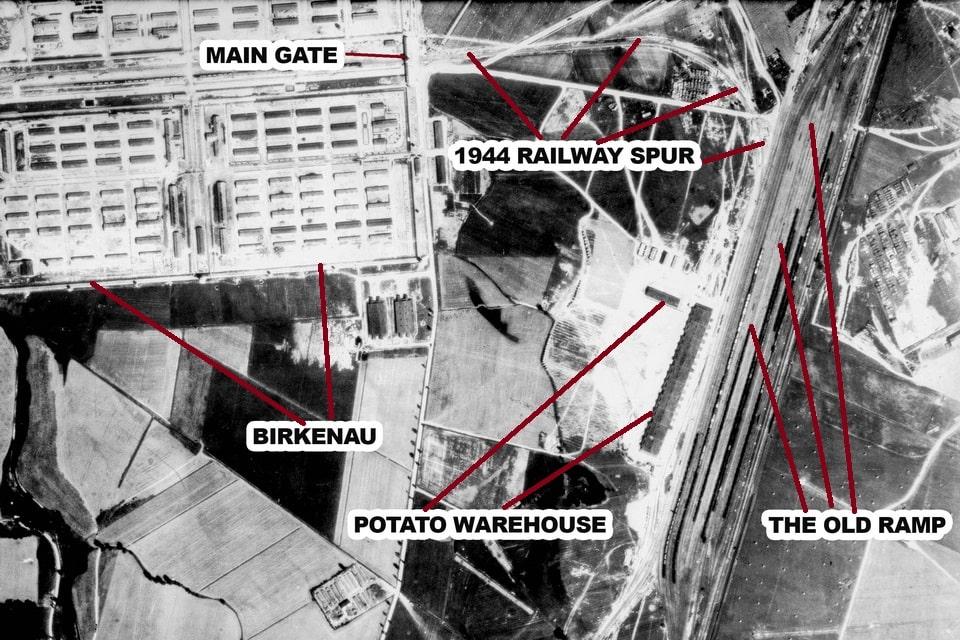 Auschwitz birkenau camp map: the old Juden Rampe