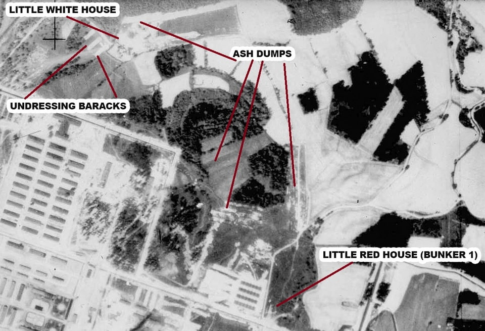 THe aerial photographs of the killing sites in Auschwitz Birkenau
