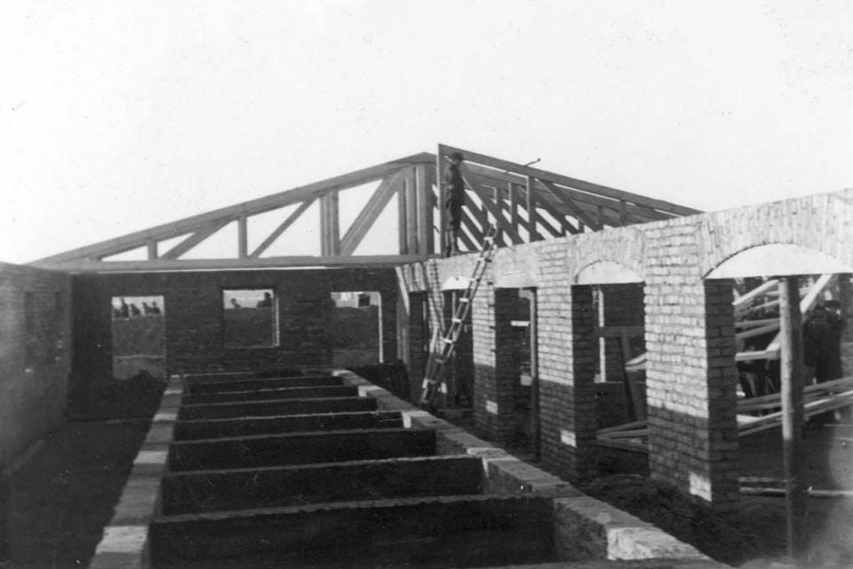 The erection of the Potato warehouses near Auschwitz Birkenau