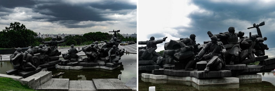 "THE MAIN SQUARE AND THE ""CROSSING OF THE DNIPRO"" STATUARY"