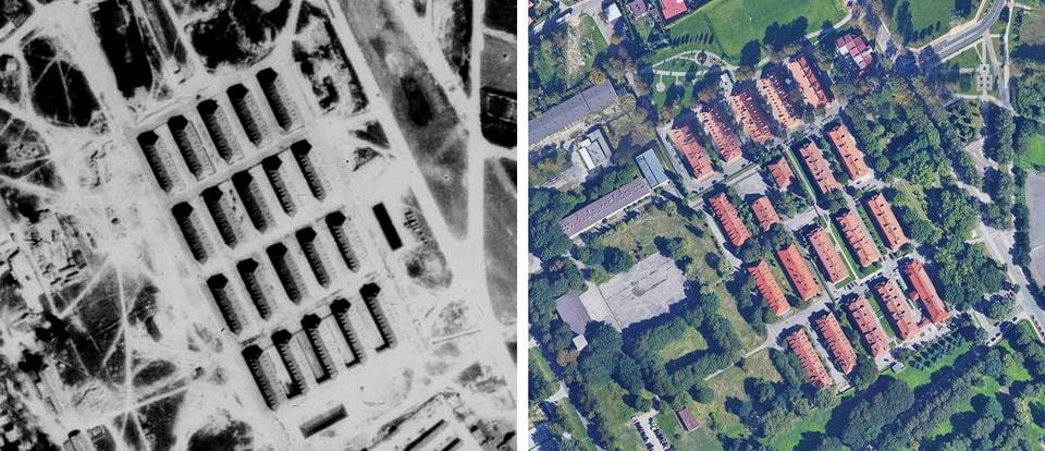 SCHUTZHAFTLAGERERWEITERUNG then and now