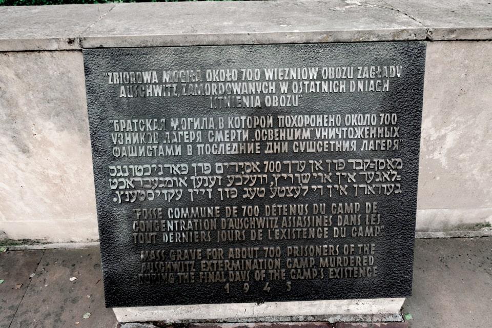 The plaque near Oswiecim