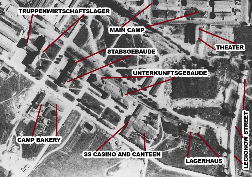 The earial photo of the Auschwitz 1 main camp Stammlager 1944