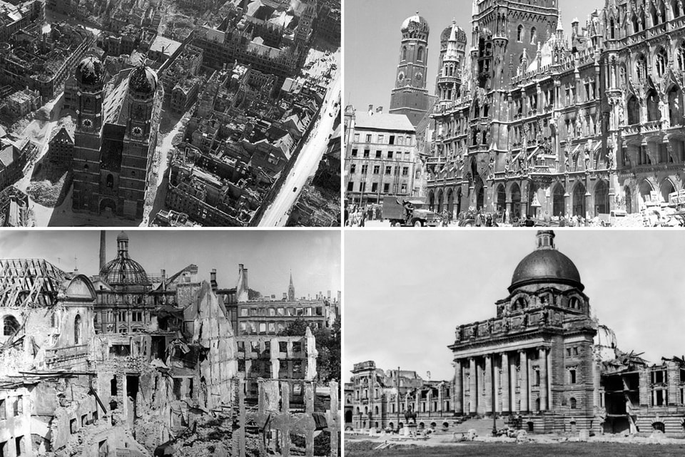 Air raids on Munich. THe devastation of a city.