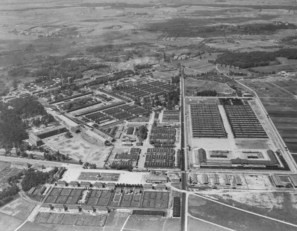 Aerial view of the Dachau camp