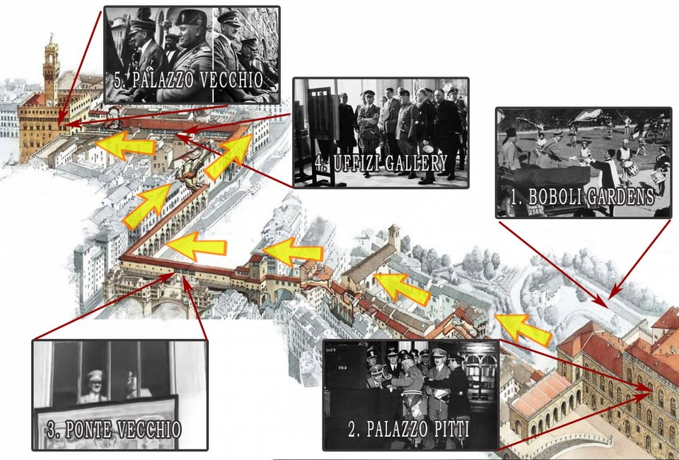 Hitler's route in Florence 1938