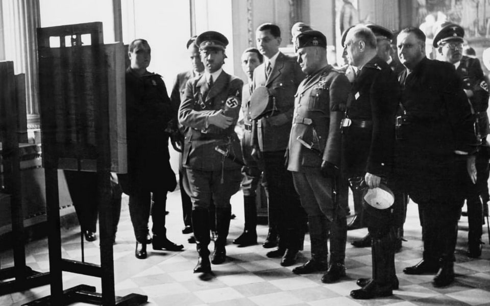 Adolf Hitler, Benito Mussolini and Count Ciano in Uffizi Gallery