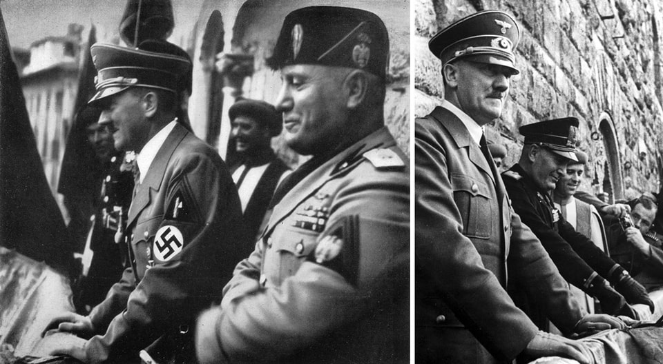Hitler and Mussolini on the balcony of Palazzo Vecchio Florence