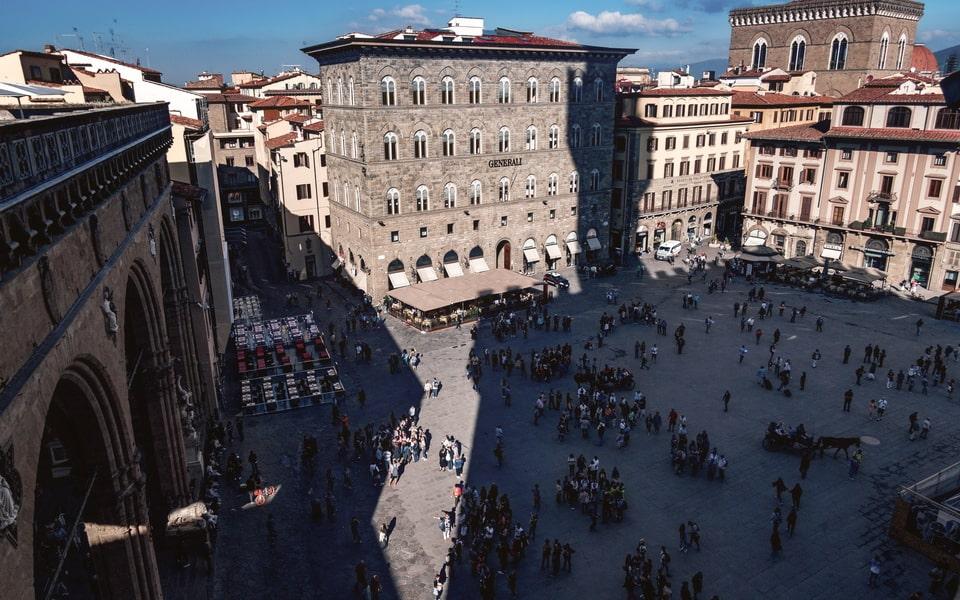The panorama over Piazza Della Signoria