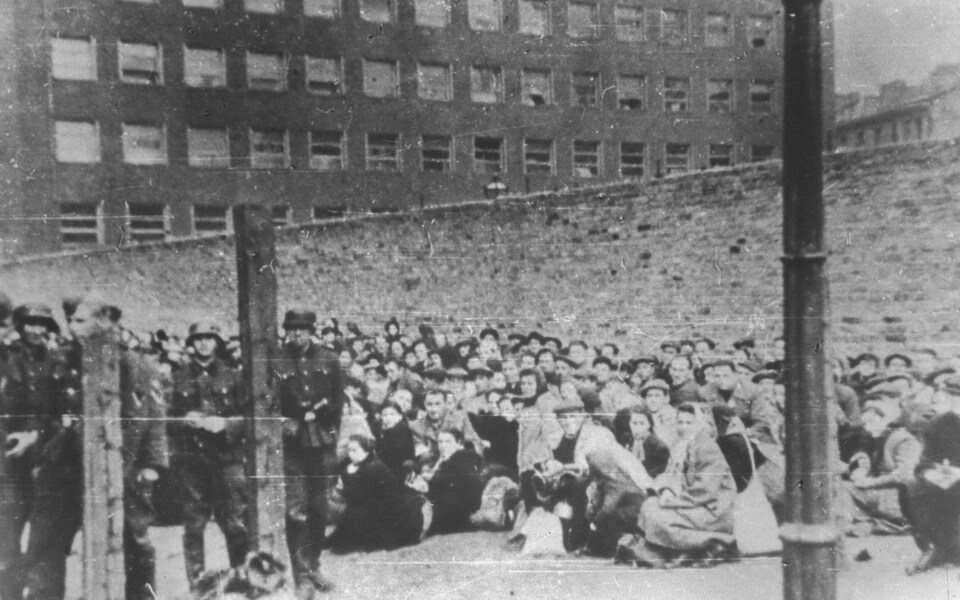 The wall of the former selection area in the Warsaw ghetto