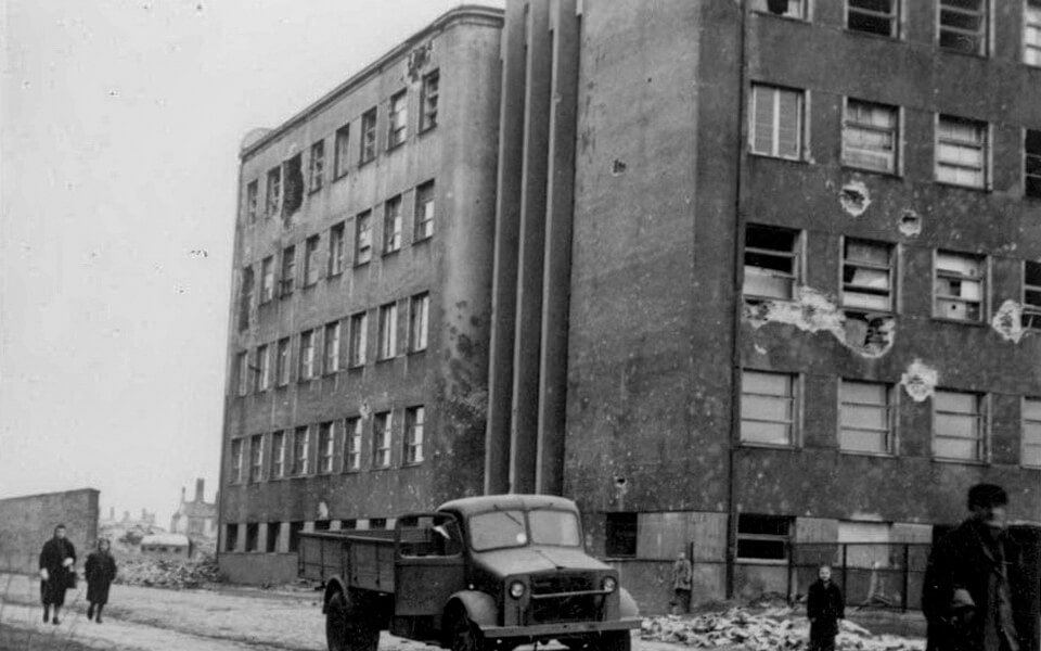The former educational building after the war in Warsaw