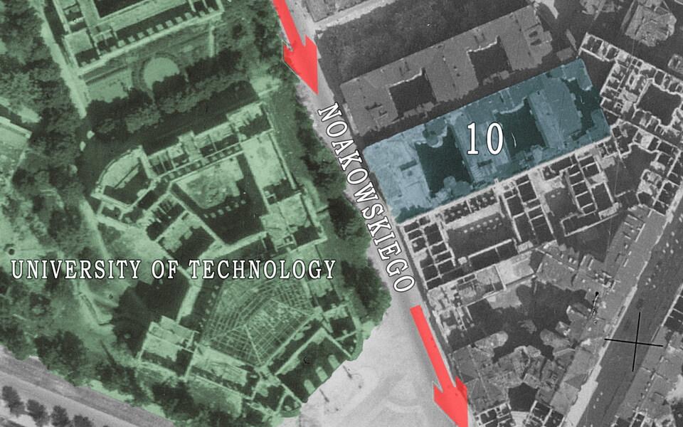 Noakowskiego 10. Historical map of Warsaw 1945