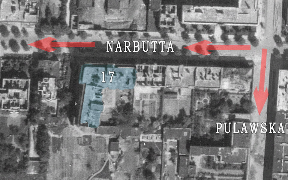 Narbutta street in Warsaw history 1945