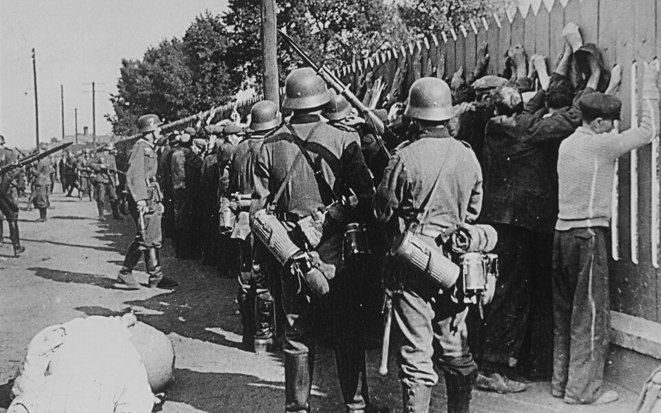 Germans on the streets of the Polish viillage 1939