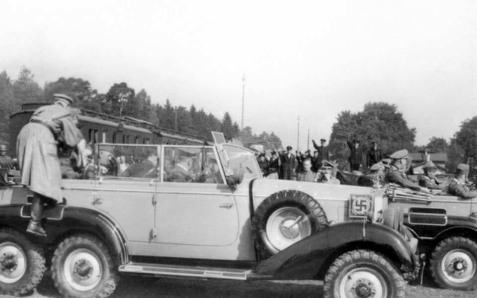 HITLER'S MOTORCADE CROSSES WARSAW October 5 1939