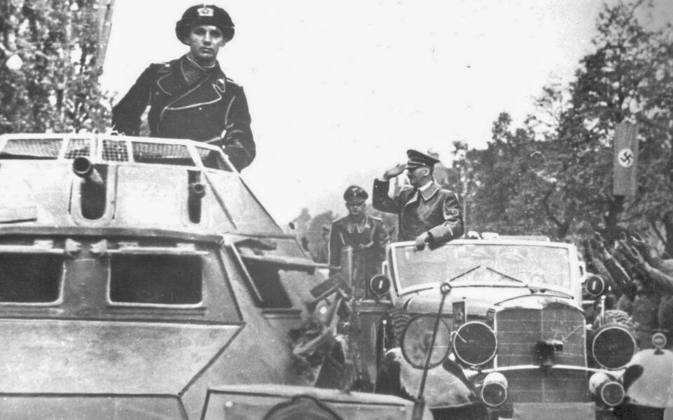 HITLER'S MOTORCADE CROSSES WARSAW, Poland 1939