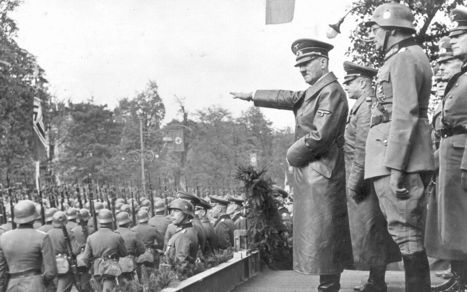 ADolf Hitler in Warsaw military parade