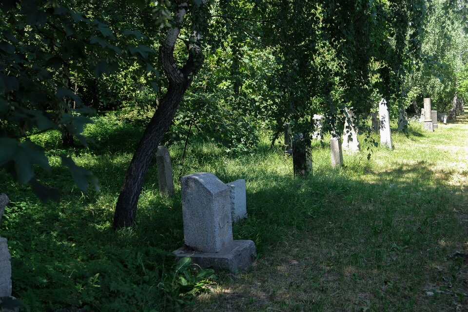 The tombstones from the former cemetery
