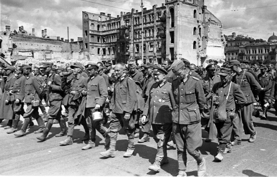 German POWS in the streets of Kyiv, 1944