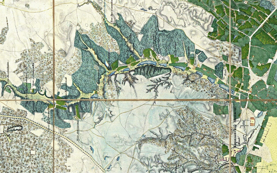 Syrets river on the map of Kyiv 1942