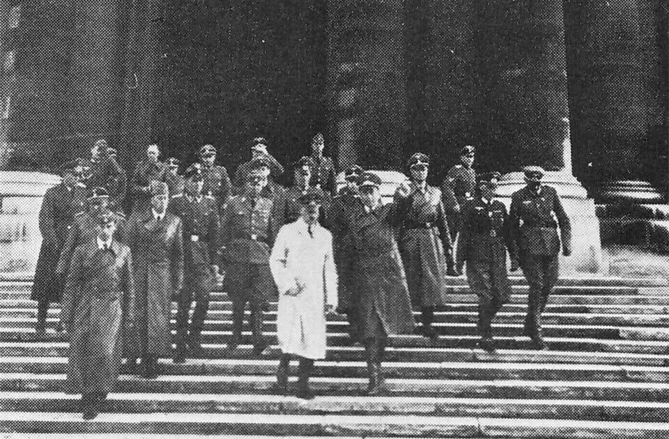 Adolf Hitler at the stair of HOTEL DES INVALIDES 1940