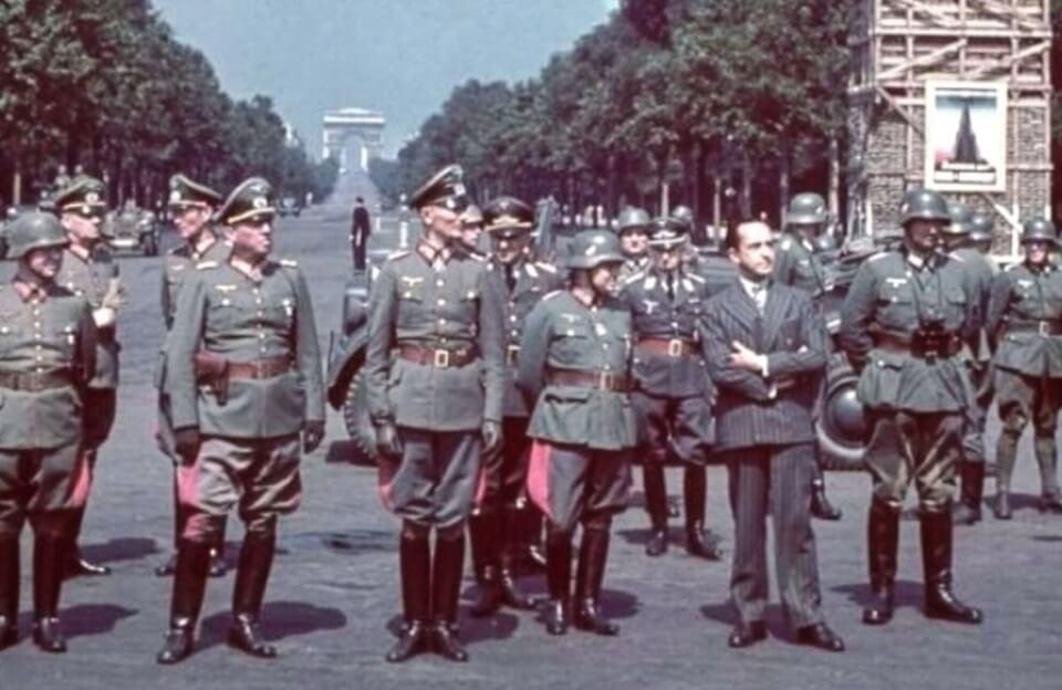 Fedor Von Bock reviewing troops, June 14, 1940 Paris