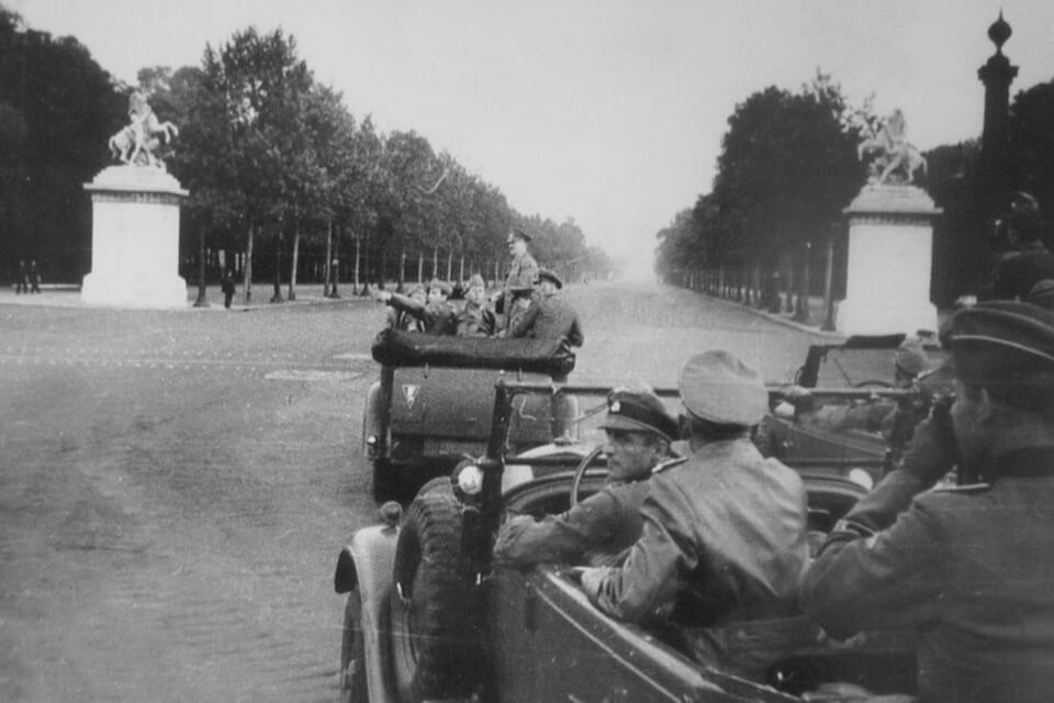 Hitler's Mercedes heading toward the 'Horses of Marly' and Champ de Elysee