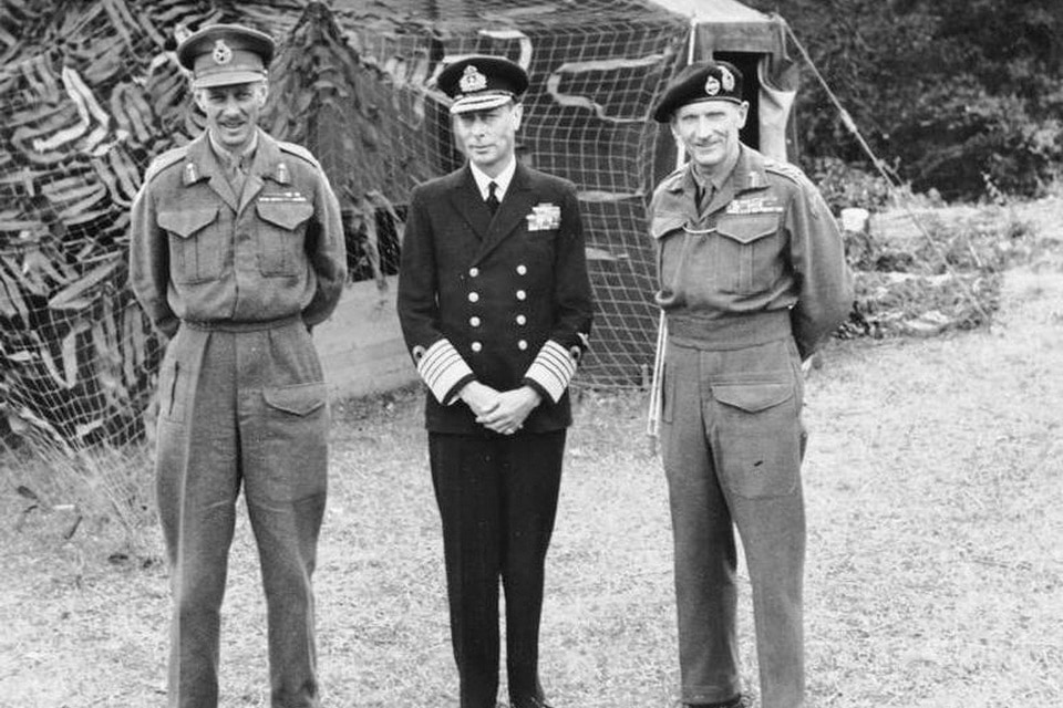 General Miles Dempsey, King George VI, and General Bernard Montgomery at the HQ at Château de Cruelly, 16 Jun 1944
