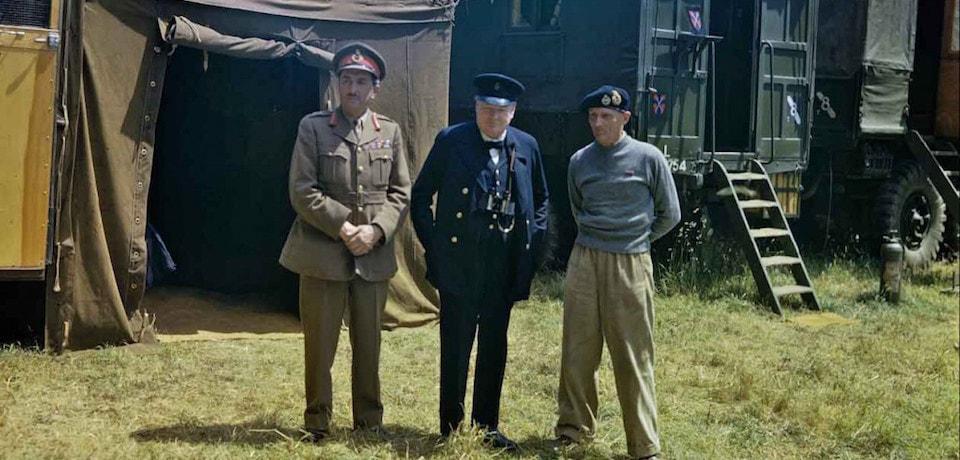 Alan Brooke, Winston Churchill, and Bernard Montgomery, June 12 1944