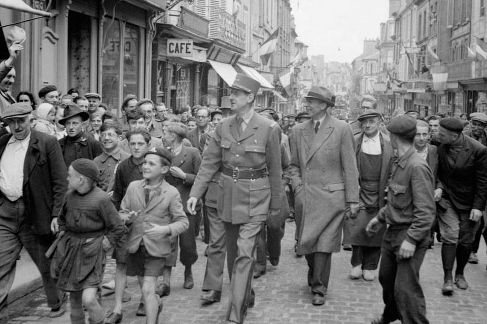 Charles De Gaulle on the streets of Bayeux, June 14, 1944