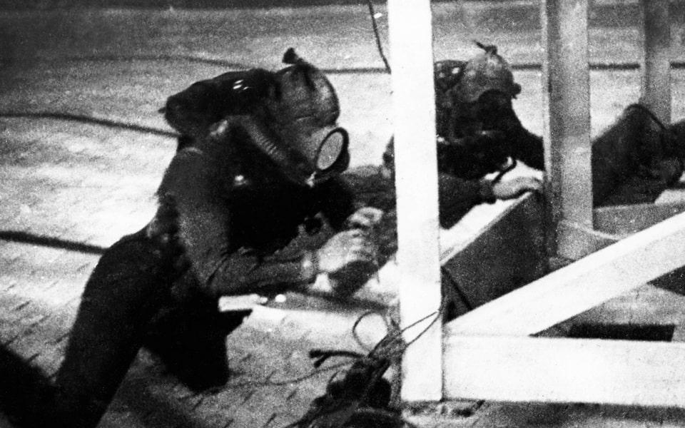 Royal Navy demolition teams on Gold Beach