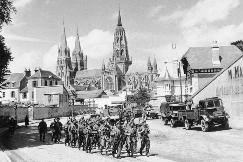British soldiers in the French city of Bayeux 1944